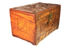 Antique Asian hand carved box isolated Stock Image