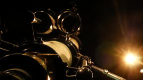 Antique astronomy telescope looking at the stars. Old Antique telescope. Antique astronomy telescope looking at the stars stock footage