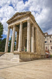 Antique August temple at forum in Pula Royalty Free Stock Photo