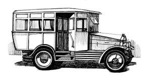Antique autobus. Antique russian soviet autobus, the thirties, black-and-white illustration Stock Photo