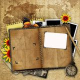 Antique background with the old map. Open book and a clock Stock Images