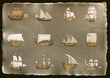 Antique background with ships Royalty Free Stock Images