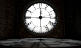 Antique Backlit Clock. A 3D render of the interior of the attic room behind an antique tower clock backlit and illuminated by the sun Stock Images