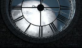 Antique Backlit Clock And Moon. A 3D render of the interior of the attic room behind an antique tower clock backlit and illuminated by a full moon at night Royalty Free Stock Image