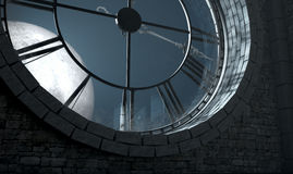 Antique Backlit Clock And Moon. A 3D render of the interior of the attic room behind an antique tower clock backlit and illuminated by a full moon at night Royalty Free Stock Images