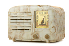 Antique Bakelite Radio 06. Antique bakelite tube radio, isolated over white, clipping paths included Stock Photos