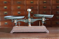 Antique balance scale Stock Photos