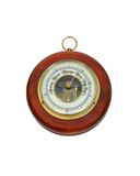 Antique barometer. Antique aneroid barometer with mechanical levers used to measure atmospheric pressure changes - Path included stock image
