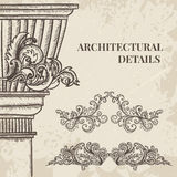 Antique and baroque cartouche ornaments and classic style column vector set. Vintage architectural details design elements stock illustration
