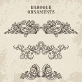 Antique and baroque cartouche ornaments vector set. Vintage architectural details design elements. On grunge background in sketch style Royalty Free Stock Images