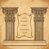Antique and baroque classic style column and ribbon banner vector set. Vintage architectural details design elements Stock Images