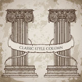 Antique and baroque classic style column and ribbon banner vector set. Vintage architectural details design elements Stock Photos