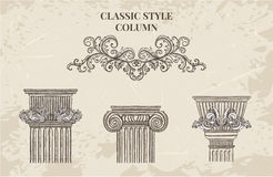 Antique and baroque classic style column vector set. Vintage architectural details design elements. On grunge background in sketch style Stock Photography