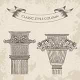 Antique and baroque classic style column vector set. Vintage architectural details design elements Royalty Free Stock Image