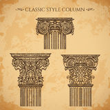 Antique and baroque classic style column vector set. Vintage architectural details design elements on grunge background Stock Image