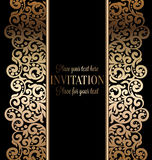 Antique baroque wedding invitation, gold on black. Antique baroque luxury wedding invitation, gold on black background with frame and place for text, lacy Stock Photography