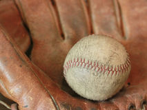 Antique Baseball with Glove royalty free stock photo