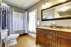 Antique bathroom interior with claw foot tub Royalty Free Stock Image