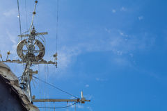 Antique battle ship communication tower Royalty Free Stock Photos