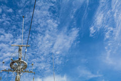 Antique battle ship communication tower Stock Photography