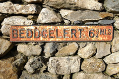 Antique Beddgelert sign. Stock Photos