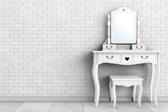 Antique Bedroom Vanity Table with Stool and Mirror. 3d Rendering Royalty Free Stock Images