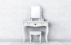 Antique Bedroom Vanity Table with Stool and Mirror. 3d Rendering Royalty Free Stock Photo