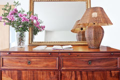 Antique bedside table and luminous shade. Closeup royalty free stock photography