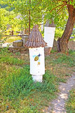 Antique beehives at historical and Cultural Reserve Stock Photos