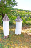 Antique beehives at historical and Cultural Reserve Royalty Free Stock Photography