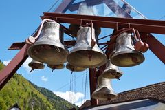 Antique bells of a musical clock in Italy Stock Photography