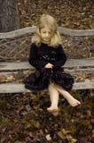 Antique Bench Girl Stock Photo