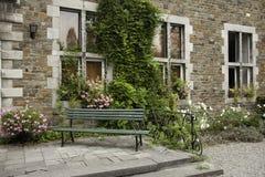 Antique bench in monastery garden Stock Photography