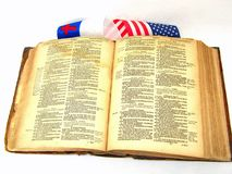 Antique Bible And Flags Royalty Free Stock Photography