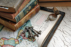 Antique Bible and Keys Stock Photos