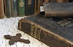 Antique Bible and Old Books Royalty Free Stock Photo