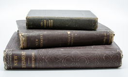 Antique Bibles Stacked. Antique book New Testament Revised Version gilt covered stock images