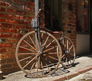 Antique bicycle. With wooden wheels Stock Photography