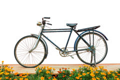 Antique bicycle balcony flowers . Royalty Free Stock Photo