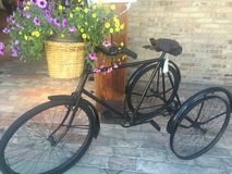 Antique bicycle with flower basket Stock Photography