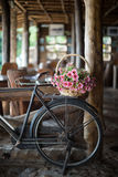 Antique bicycle with a flower basket Royalty Free Stock Images