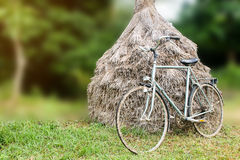 Antique bicycle lean the rice straw Royalty Free Stock Image