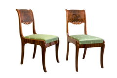 Antique Biedermeier chair with wood carving Stock Images
