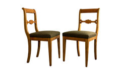 Antique Biedermeier chair with and woor carving Royalty Free Stock Photo