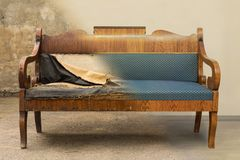 Antique Biedermeier style sofa before and after restoration, in a single photo stock image