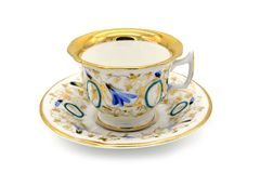Antique biedermeier time coffee cup on white isolated background royalty free stock image