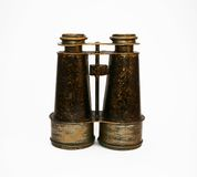 Antique Binoculars 1. Small antique binoculars, made of brushed brass royalty free stock photo