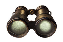 Antique Binoculars. Isolated on white Stock Photo