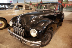 Antique black car in museum of Mosfilm Royalty Free Stock Images