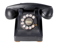 Antique Black Telephone. With a dial royalty free stock photo